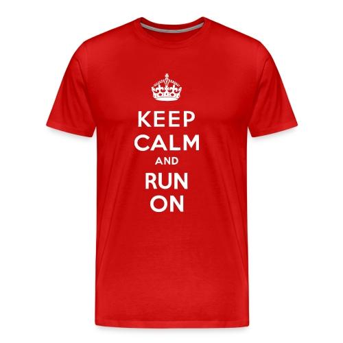 MENS RUNNING T SHIRT - KEEP CALM RUN ON - Men's Premium T-Shirt