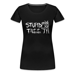 Stupid Tree Disc Golf Shirt - Women's Fitted Shirt - White Print - Women's Premium T-Shirt