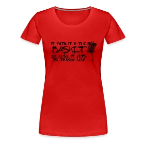 It Puts It In the Basket Disc Golf Shirt - Women's Fitted Tee  - Black Print - Women's Premium T-Shirt