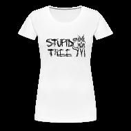 Women's T-Shirts ~ Women's Premium T-Shirt ~ Stupid Tree Disc Golf Shirt - Women's Fitted Tee - Black Print