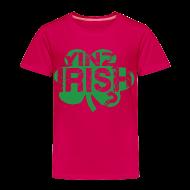Baby & Toddler Shirts ~ Toddler Premium T-Shirt ~ Yinz Irish? Pink Kids T-shirt - Green Cutout