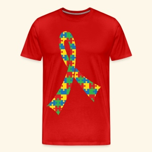 Autism Puzzle Ribbon Mens T-shirt - Men's Premium T-Shirt