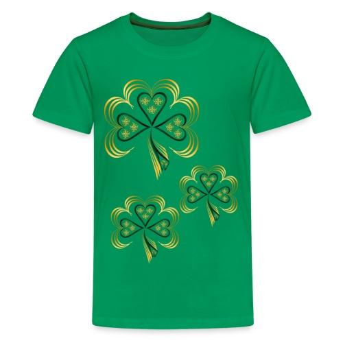 Gold Trimmed Shamrock - Kids' Premium T-Shirt
