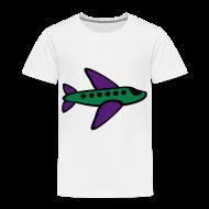 Baby & Toddler Shirts ~ Toddler Premium T-Shirt ~ KKT 'Airplane, 3 Color' Toddler Tee, White