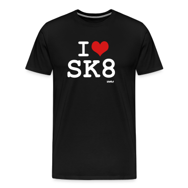 Black i love skate - sk8 by wam T-Shirts