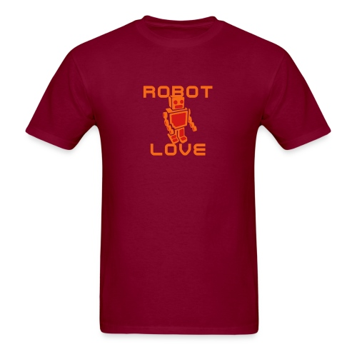 ROBOT LOVE BURGUNDY - Men's T-Shirt
