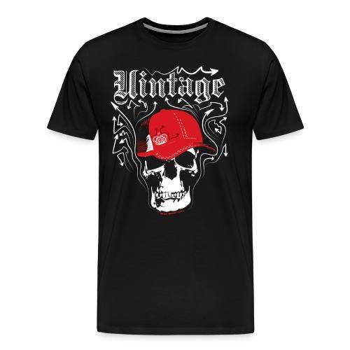 Cool Vintage Skull Cap Designer Tee - Men's Premium T-Shirt
