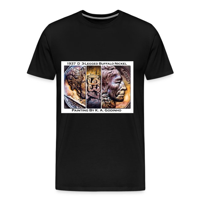 1937 D 3-Leg Buffalo Nickel Men's Black T-Shirt