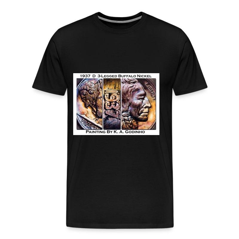 1937 D 3-Leg Buffalo Nickel Men's Black T-Shirt - Men's Premium T-Shirt