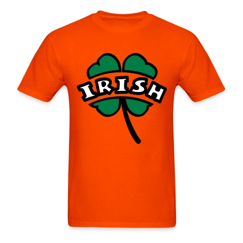 WUBT 'Irish Arc Cut Out Of 4-Leaf Clover, Outline', Men's HW Tee, Orange - Men's T-Shirt