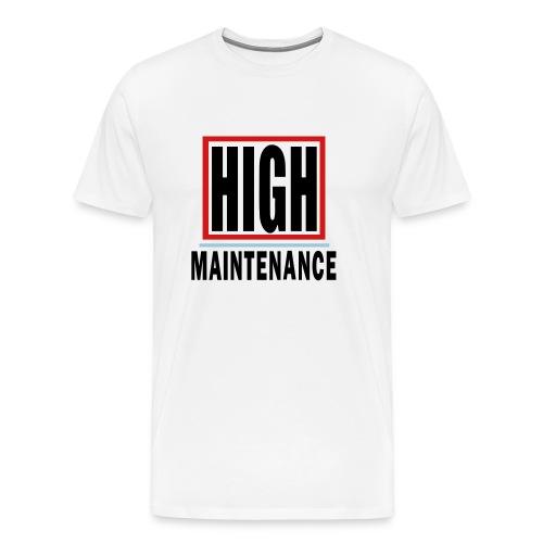 WUBT 'High Maintenance In Box' Men's HW Tee, White - Men's Premium T-Shirt