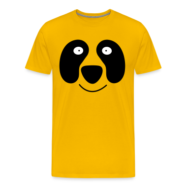 Gold panda face with smile T-Shirts