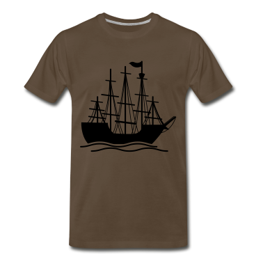 Brown pirate ship on the ocean waves T-Shirts