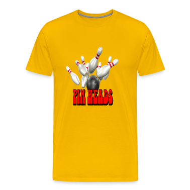 Yellow Bowling Team Pin Heads T-Shirts