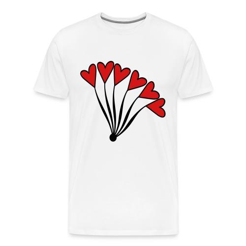 WUBT 'Red Heart Balloon Bouquet' Men's HW Tee, White - Men's Premium T-Shirt