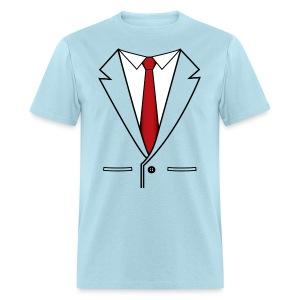Suit Coat with Red Tie - Men's T-Shirt