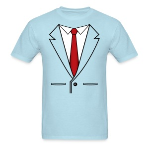 Suit Coat with Red Tie - Men's T-Shirt