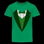 Kids' Shirts ~ Kids' Premium T-Shirt ~ Kids Irish Tuxedo T-Shirt, Green St Patricks Day Tuxedo Shirt