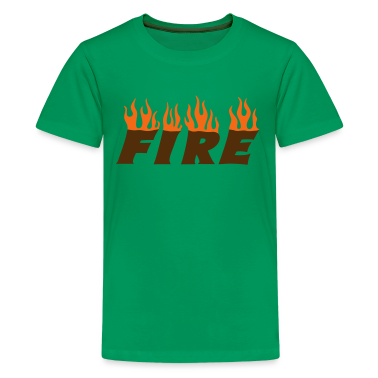 Kelly green fire Kids' Shirts
