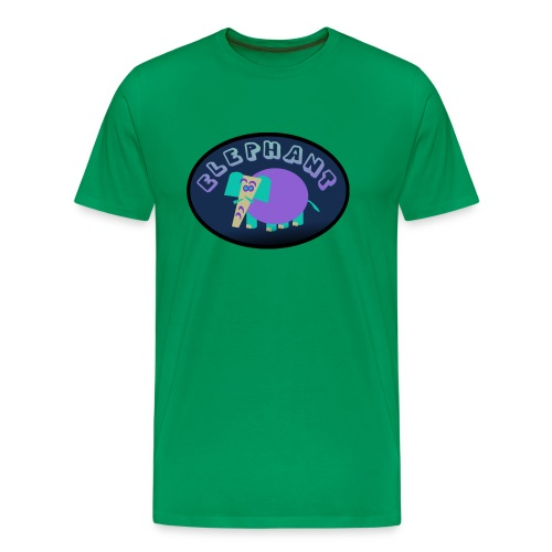 WUBT 'Colorful Elephant On Oval With Shading--DIGITAL DIRECT' Men's HW Tee, Sage - Men's Premium T-Shirt