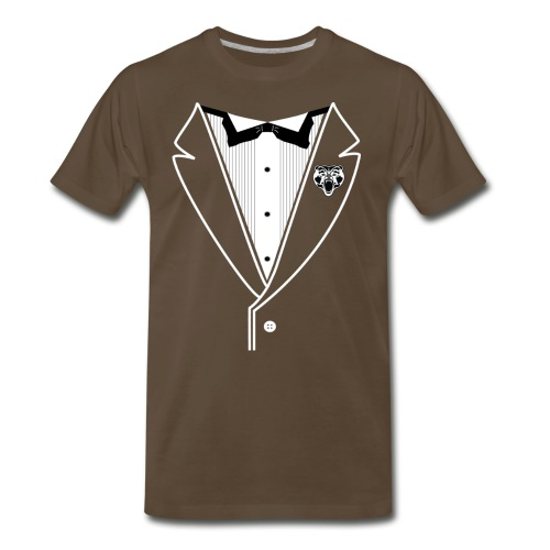 BEAR TUXEDO White Lined - Men's Premium T-Shirt