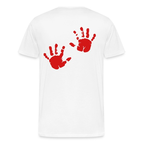 Bloody hand prints, on back of shirt - Men's Premium T-Shirt