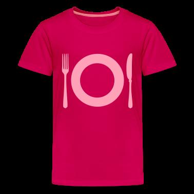 Hot pink Cutlery - Plate Kids' Shirts