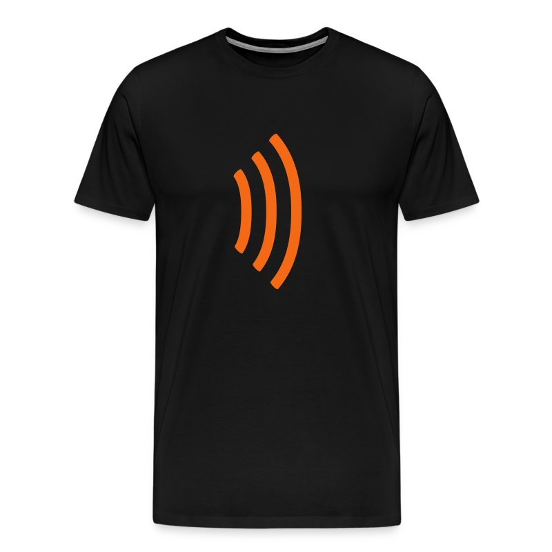 black heavyweight tee shirt with radio wave on front, soundwave on back - Men's Premium T-Shirt