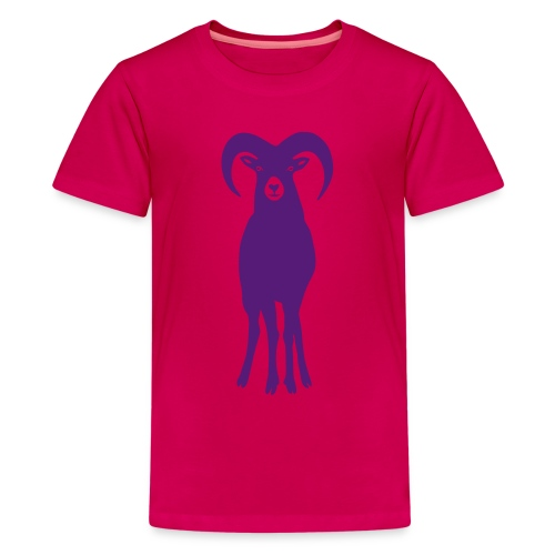 t-shirt sheep goat mountain ram horn horns aries jumbock bighorn buck billy goat animal - Kids' Premium T-Shirt