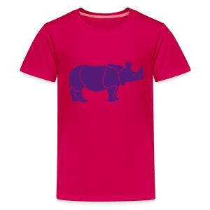 t-shirt rhino rhinoceros africa horn horny wild animal colorful colors map funny happy - Kids' Premium T-Shirt