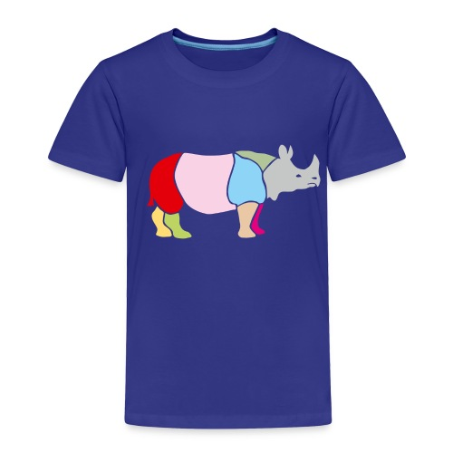 t-shirt rhino rhinoceros africa horn horny wild animal colorful colors map funny happy - Toddler Premium T-Shirt