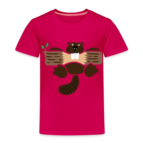 t-shirt beaver eager rodent otter wood forest teeth tree - Toddler Premium T-Shirt