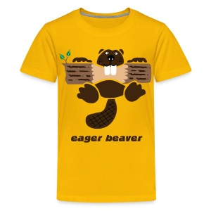 t-shirt beaver eager rodent otter wood forest teeth tree - Kids' Premium T-Shirt