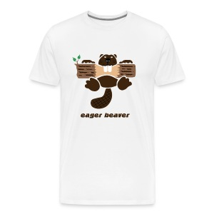 t-shirt beaver eager rodent otter wood forest teeth tree - Men's Premium T-Shirt