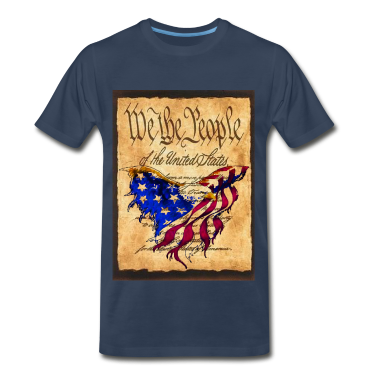 We The People American Eagle Flag Short Sleeve Heavy Weight  T-Shirt w/design on Front