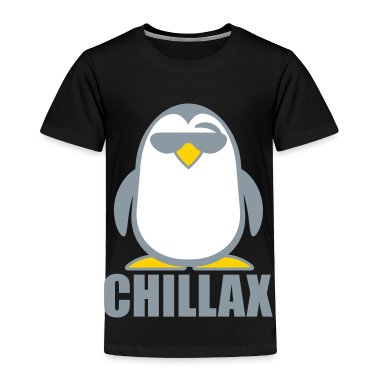 Black Chillax Penguin Toddler Shirts