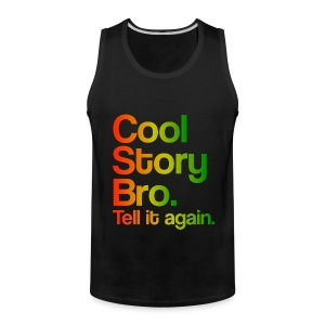 Cool Story Bro Tell It Again Rasta Colors Design Funny Tanktop Sleeveless Shirt - Men's Premium Tank