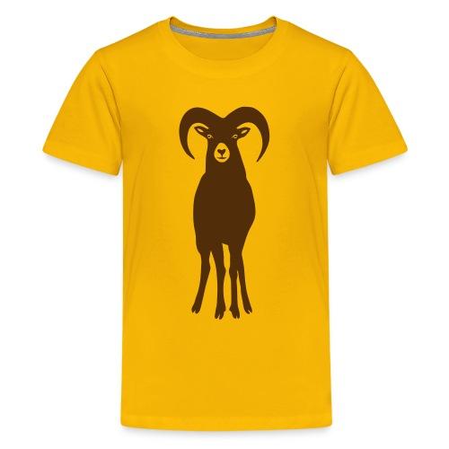 t-shirt sheep goat mountain ram horn horns aries jumbock bighorn buck billy goat animal - Kids' Premium T-Shirt
