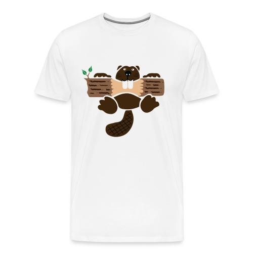 t-shirt beaver eager rodent otter wood forest teeth tree - Men's Premium T-Shirt