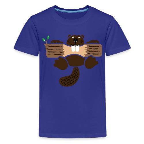t-shirt beaver eager rodent otter wood forest teeth tree - Kids' Premium T-Shirt