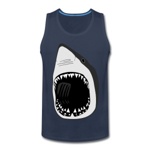 animal t-shirt white shark jaws fish fishing diver scuba diving sharks - Men's Premium Tank