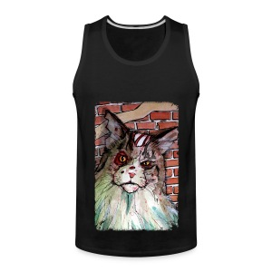 mens zombie devil cat - Men's Premium Tank