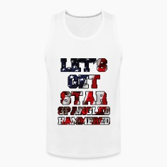 Let's Get Star Spangled Hammered Flag Design Tank Tops