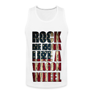 Tank Tops ~ Men's Premium Tank Top ~ Rock Me Moma Like A Wagon Wheel American Flag Tank Top