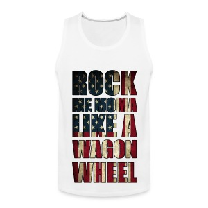 Rock Me Moma Like A Wagon Wheel American Flag Tank Top - Men's Premium Tank