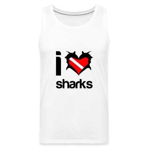 I Love Sharks T-Shirt - Men's Premium Tank