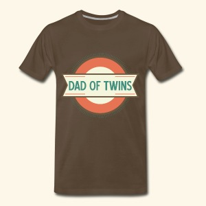 Men's Premium T-Shirt - This vintage style logo says Dad Of Twins and comes on a brown mens short sleeve t-shirt for Father's Day.