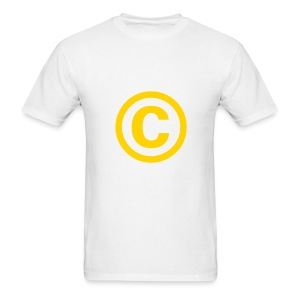 Men's T-Shirt - The copyright symbol, in yellow gold on a white t-shirt.