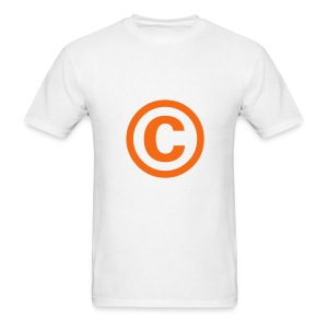 Men's T-Shirt - The copyright symbol, in orange on a white t-shirt.