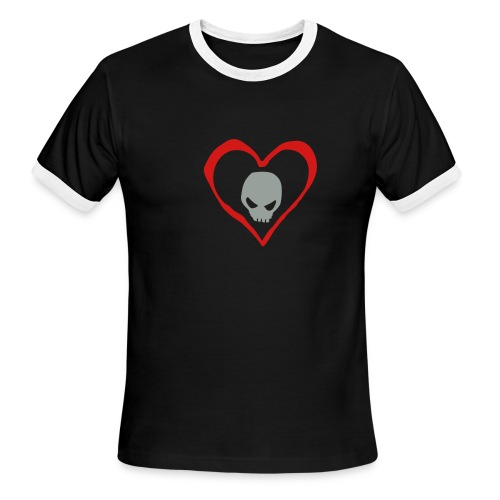 Skull in heart (short sleeve) - Men's Ringer T-Shirt